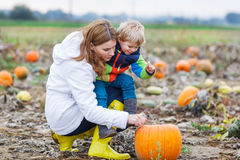 Mother and two little sons having fun on pumpkin patch. Stock Image