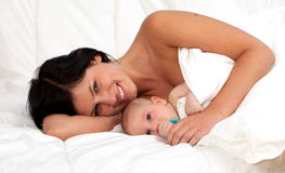 Mother with a two months baby boy Royalty Free Stock Photo