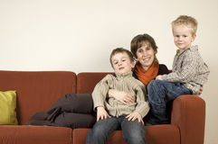 Mother And Two Sons 1 Stock Image