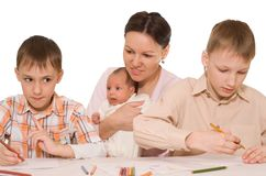 Mother with two sons and newborn Stock Photo