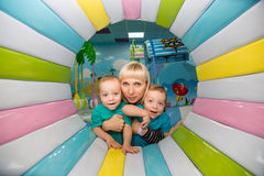 Mother with two twins boys Stock Photography