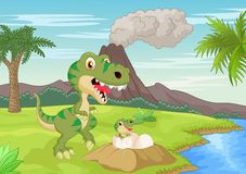 Mother tyrannosaurus with baby hatching Royalty Free Stock Image