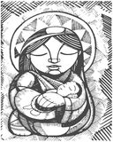 Mother Virgin Mary. Hand drawn illustration or drawing of Virgin Mary Mother and Baby Jesus Christ, in an indigenous style Royalty Free Stock Images