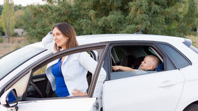 Mother waiting with son in car Royalty Free Stock Photo