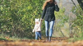 Mother walk with baby outdoor at park. Autumn leaves background. Happy Family Values. Child and mom. Mother's care most important in baby life. Fall season stock video