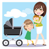 Mother Walking. Cute mother walking with son on her arms while daughter is pushing a baby carriage Stock Photography