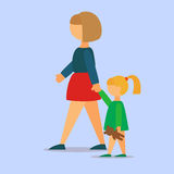Mother Walking Her Daughter royalty free stock photography