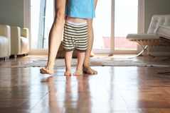 Mother walking with little boy at home Royalty Free Stock Photography