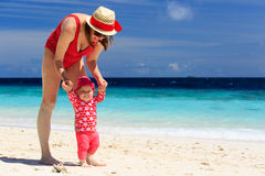 Mother walking with little daughter on the beach Stock Photography