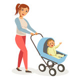 Mother walks with son in blue baby carriage isolated illustration Royalty Free Stock Photography
