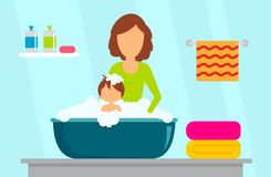 Mother wash kid concept background, flat style royalty free illustration