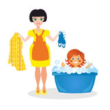 Mother washes the daughter. On white background Royalty Free Stock Photo
