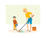 Mother washes the floors with a mop in the room Stock Image