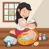 Mother washing her child s hair with love illustration Stock Images