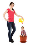 Mother watering baby in flower pot Royalty Free Stock Images