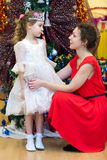 Mother whith little daughter, dressed in costume of Snow Maiden Stock Photography