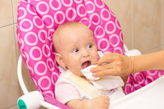 Mother wipes baby's mouth Royalty Free Stock Photos