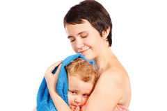 Mother wipes head to his son after bathing Royalty Free Stock Photo