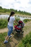 Mother With Baby Carriage Stock Photography