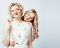 Mother With Daughter Together Posing Happy Smiling Isolated On White Background With Copyspace, Lifestyle People Concept Royalty Free Stock Images
