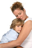 Mother With Eyes Closed And Holding Son Stock Images