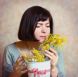 Mother With Mimosa Flowers Presented On Womans Day Stock Photo