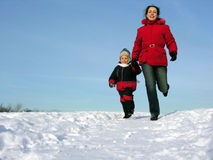 Mother With Son Run Royalty Free Stock Images