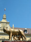 Mother wolf with Remus and Romulus and clear blue sky. Mother wolf with Remus and Romulus in front of the new Brasov city hall with clear blue sky Stock Images