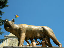 Mother wolf with Remus and Romulus, with Romanian flag. Mother wolf with Remus and Romulus in front of the new Brasov city hall, with Romanian flag Stock Images