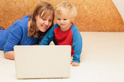 Mother working from home royalty free stock photo