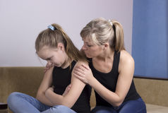 Mother Worried About Unhappy Sad Daughter.  Royalty Free Stock Images