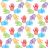 Mother's and kid's hands, seamless border background, Stock Photography