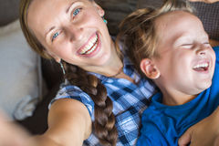 Mother And 4 years old Son Posing For Selfie Royalty Free Stock Image