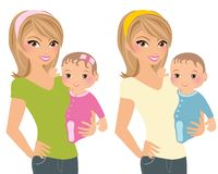 Mother with young child. Set of two images, young mother holding infant child, baby girl or baby boy Stock Photos