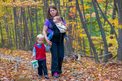 Mother and Young Children Walking Stock Photography