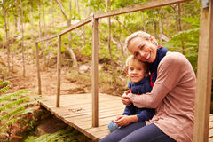 Mother and young son embracing on a bridge in a forest stock photography