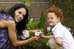 Mother and young son in garden Stock Photography