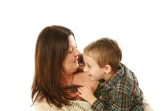 Mother and young son hugging Royalty Free Stock Photos