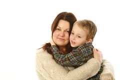 Mother and young son hugging Royalty Free Stock Images