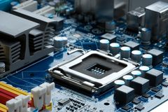 Motherboard. CPU socket on a computer motherboard Stock Photography