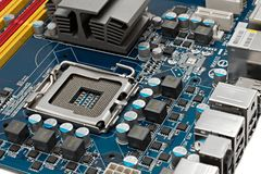 Motherboard. Computer mainboard with empty CPU socket Royalty Free Stock Photography