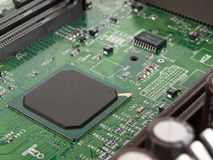 Motherboard. Chip processor transistor on pcb Royalty Free Stock Images