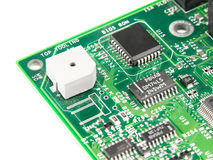 Motherboard. Chip processor transistor on pcb Royalty Free Stock Photo