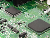 Motherboard. Chip processor, transistor, on pcb Royalty Free Stock Photography