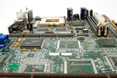 Motherboard. Computer motherboard is photographed close up Royalty Free Stock Image