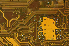 Motherboard. Detailed look of the circuits of a computer motherboard Royalty Free Stock Photos