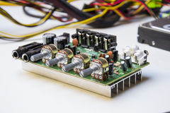 Motherboard amplifier. With condensers and regulators royalty free stock image