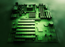 Motherboard on a background of green binary code. 3d render.  stock image