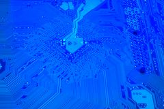 Motherboard - Blue Space. Motherboard - Space Electrical Equipment big macro image Stock Image