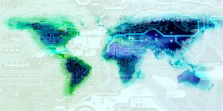Motherboard circuit connects continents on world map. Hi technology worldwide conceptual collage. Elements of this image furnished by NASA stock images